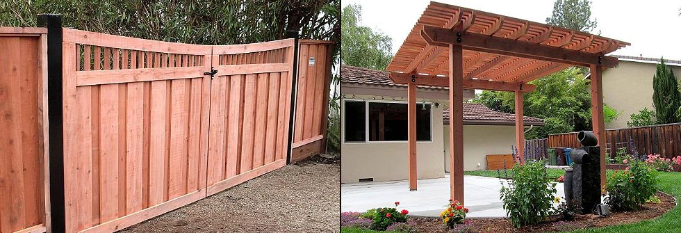 Bay area custom fencing decks by a and j fencing for Redwood patio cover