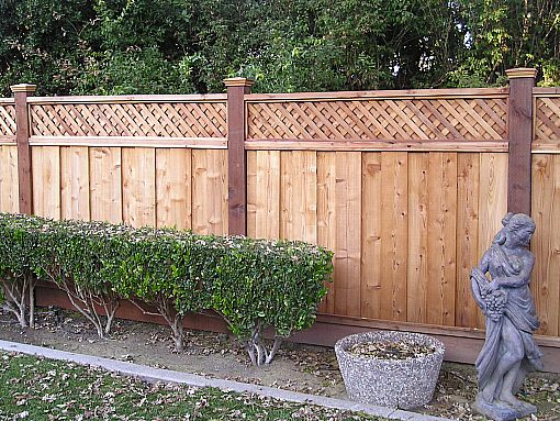 Redwood fencing style choices from a and j fencing for Using lattice as fencing